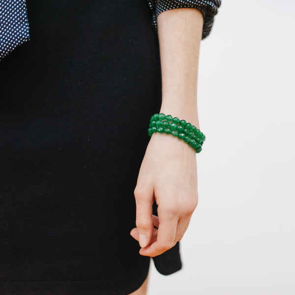 Emerald Green Bracelets with Navy Blue Outfit