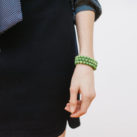 Navy Blue Shirtail Skirt with Green Bracelet Stack