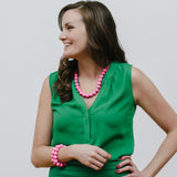 Hot Pink Necklace Green Blouse
