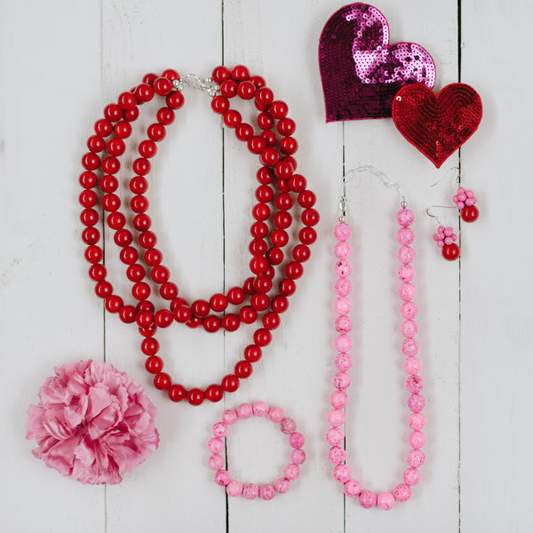 Chunky Tickled Pink Necklace in Rose Magnesite