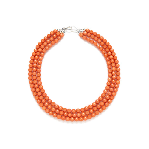 Mini Luxe Coral Pumpkin Necklace in Orange Jade