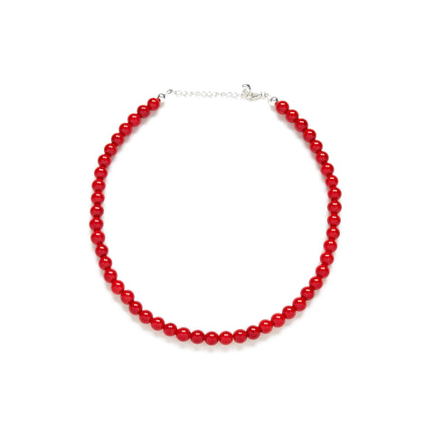 Mini Merry Cherry Necklace in Red Jade