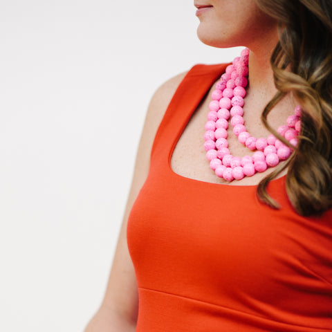 Luxe Tickled Pink Necklace in Rose Magnesite
