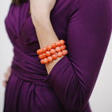 Coral Pumpkin Bracelet in Orange Jade
