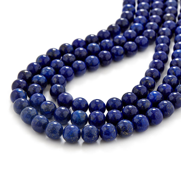 Chunky Beaded Lapis Lazuli Necklace in Navy Blue