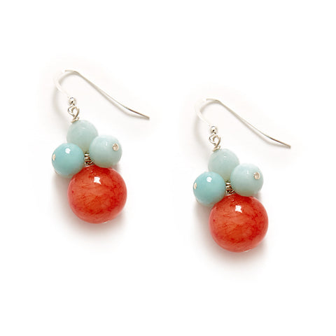Orange and Blue cluster earrings with sterling silver