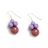 Dusty Lavender Cluster Earrings in Purple Jade