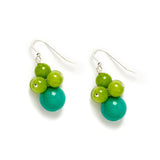 Tropical Galapagos Cluster Earrings in Green Jade