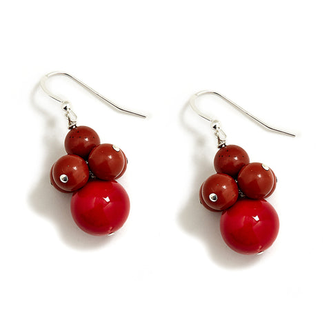 Red Jade and Brown Stone Cluster Earrings in Sterling Silver