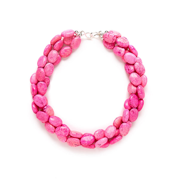 Hot Pink Torsade Necklace with Sterling Silver