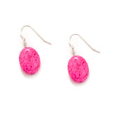 Hot Pink Silver Earrings
