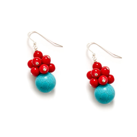 Red Turquoise Cluster Earrings