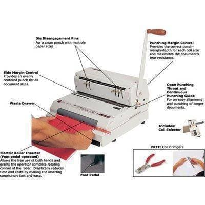 Akiles CoilMac ECI Manual Coil Punch with Electric Coil Inserter Binding/Punching Systems Akiles