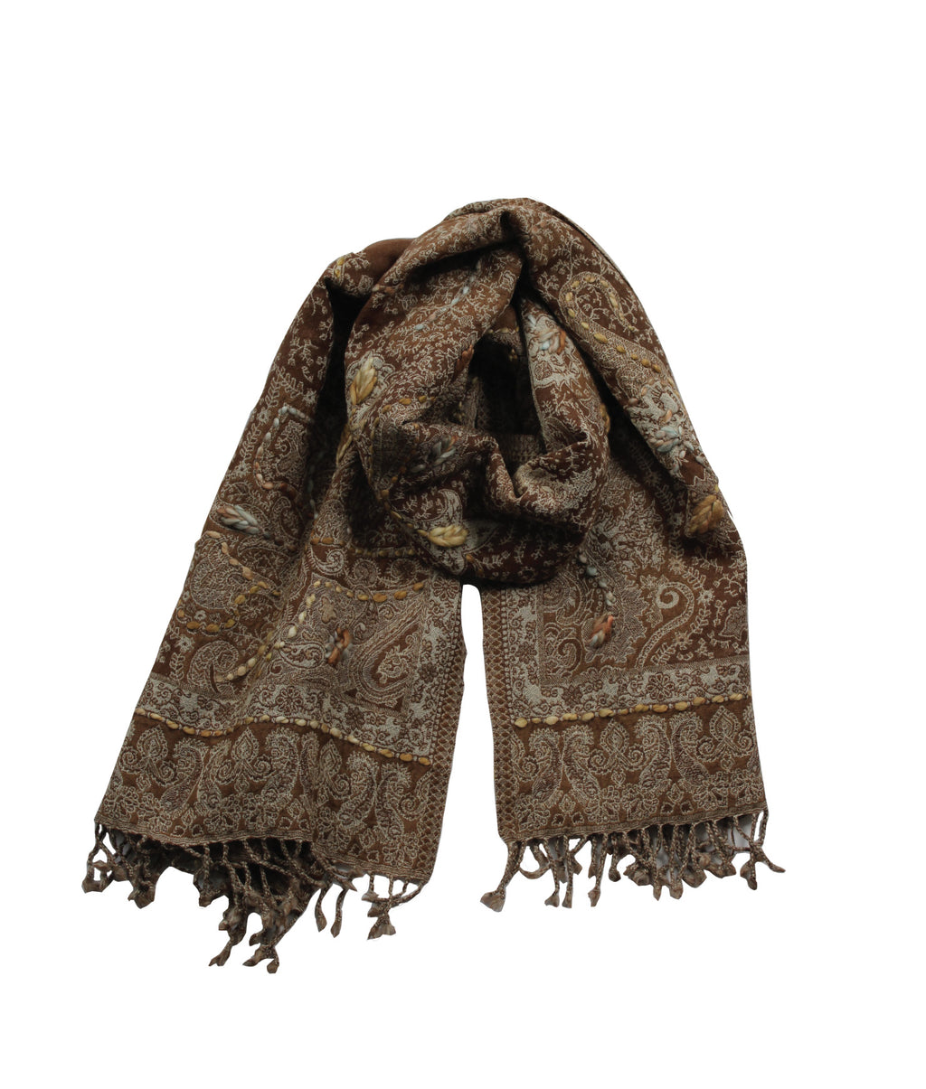 EMBROIDERED SCARF - Cinnamon