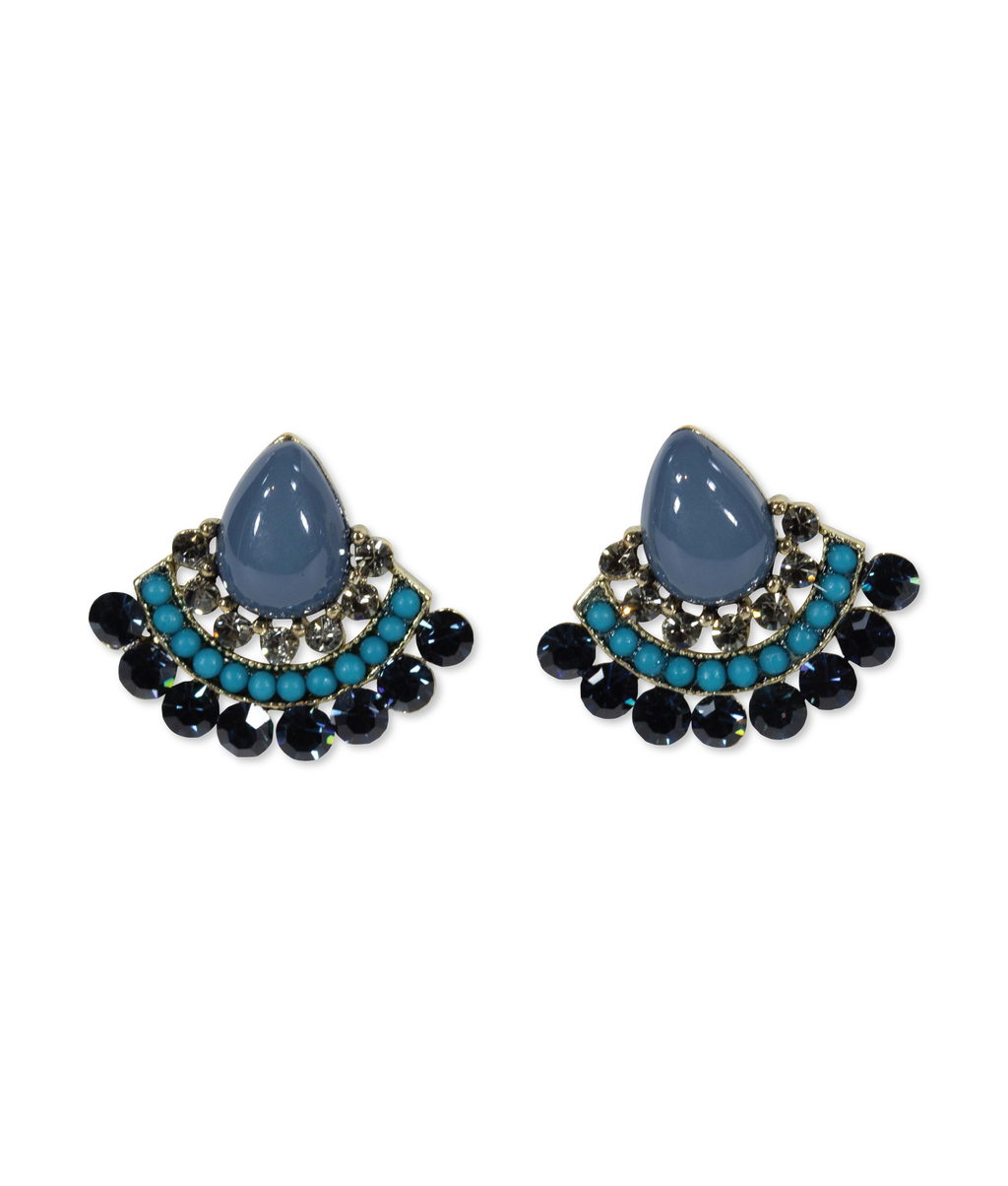 EARRINGS - Black Diamond Fan