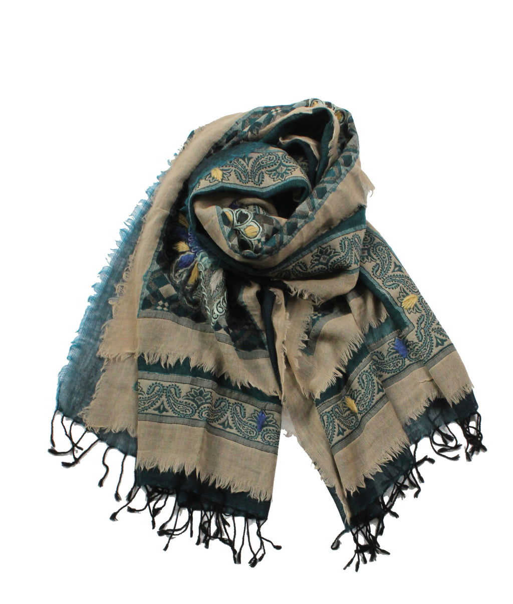 EMBROIDERED SCARF - Mediterranean