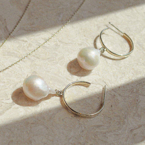 Baroque Pearl Hoops