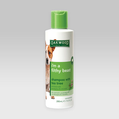 "Pet Shampoo with Tea Tree Oil <br><h3 class=""subtitle"">i'm a filthy beast</h3>"