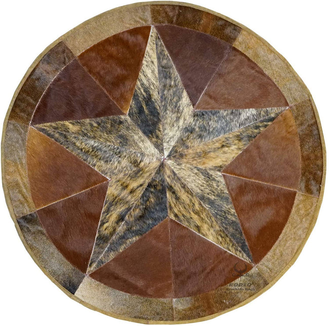 Texas Star Patch Work Cowhide Rug