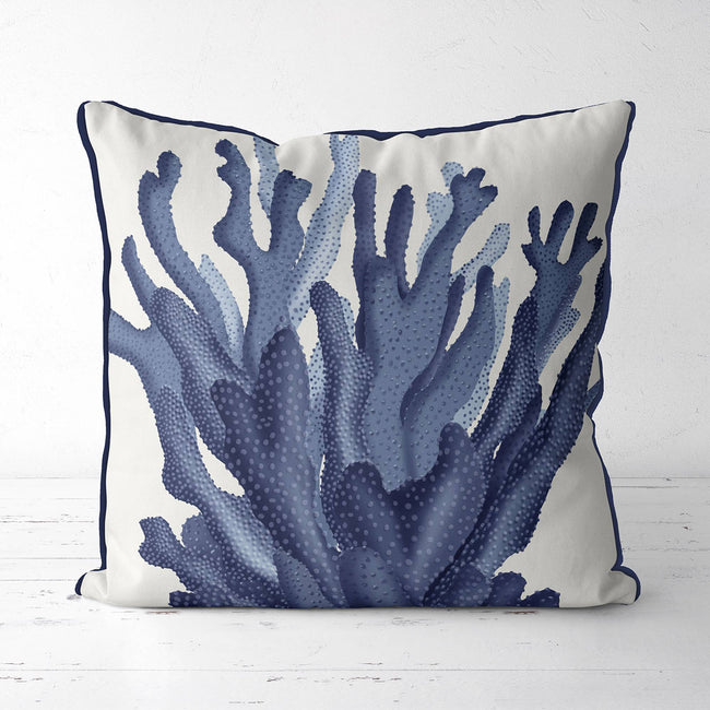 Coral 17 in Blue, Nautical Pillow