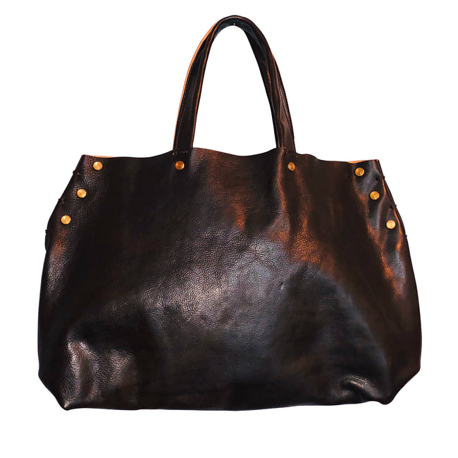 Dark Brown Leather Hobo Tote