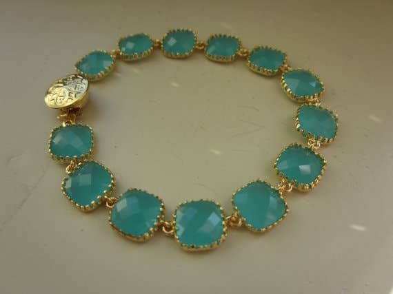 Laalee Jewelry - Aqua Blue Mint Bracelet Gold Plated