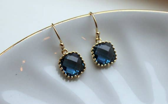 Dainty Navy Blue Earrings