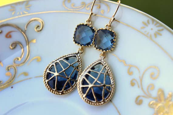 Laalee Jewelry - Sapphire Earrings Navy Blue Gold