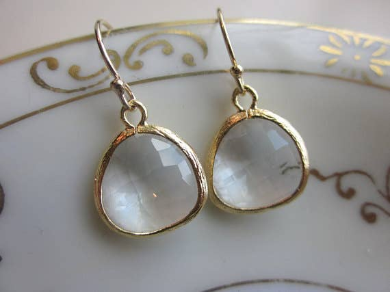 Laalee Jewelry - Gold Clear Crystal Earrings