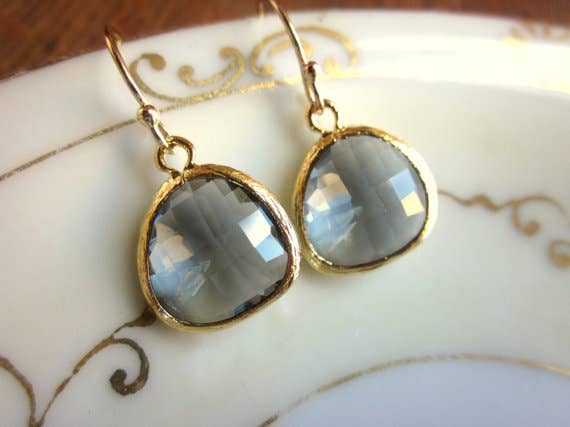 Laalee Jewelry - Charcoal Gray Earrings Gold