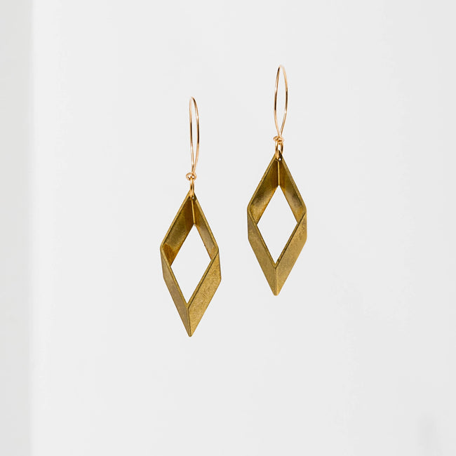 Larissa Loden Jewelry - Open Brass Diamond Earrings