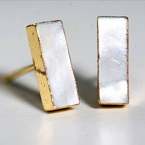 Leslie Francesca Designs - Mother Of Pearl Bar Studs