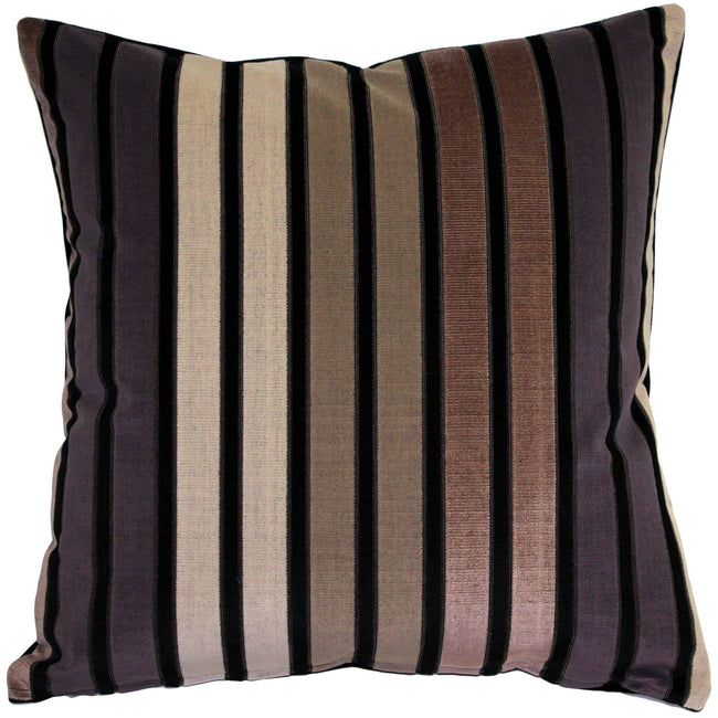 "Pillow Decor - 20"" x 20"" Amethyst Stripes Textured Velvet Throw Pillow"