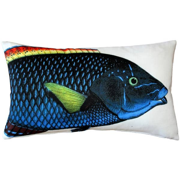 "Pillow Decor - 12"" x 19"" Blue Wrasse Front and Back Pillow"