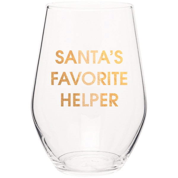 Chez Gagné - Santa's Favorite Helper Stemless Wine Glass