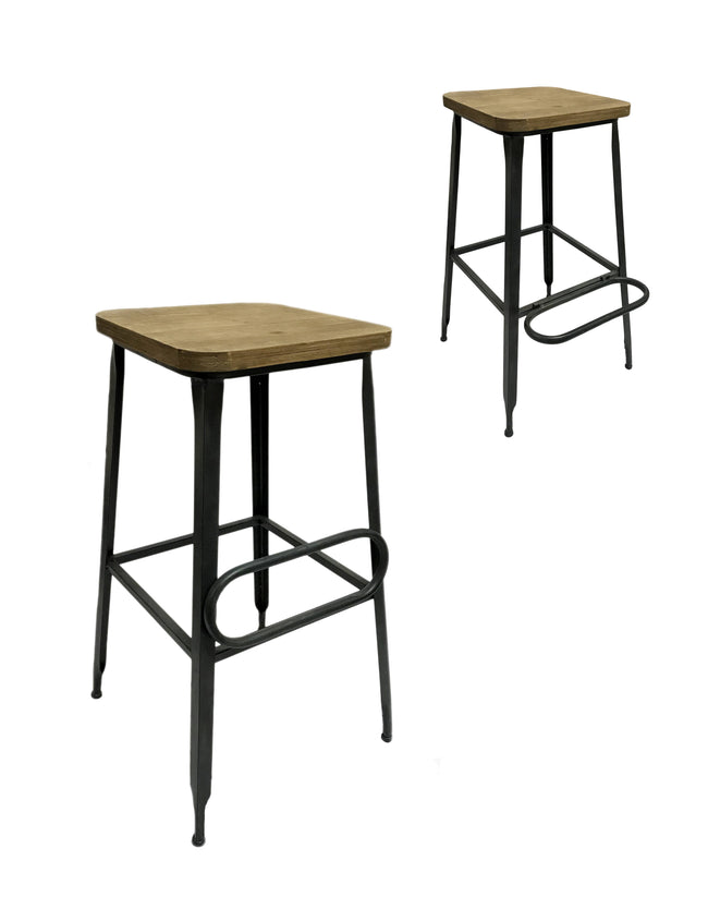 Drop Step Wood Metal Bar Stool