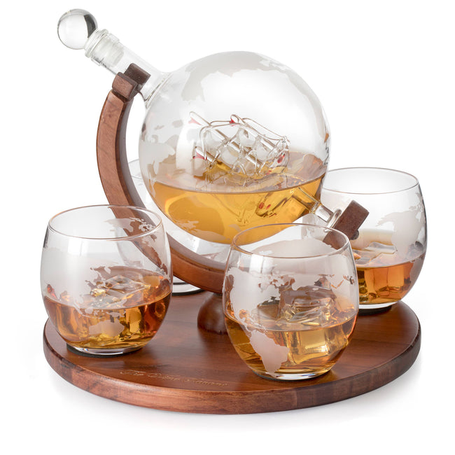 Globe Decanter with 4 Glasses and Whiskey Rocks