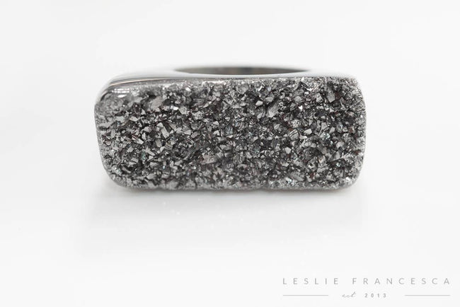 Leslie Francesca Designs - Silver platted Druzy Solid Rock Ring