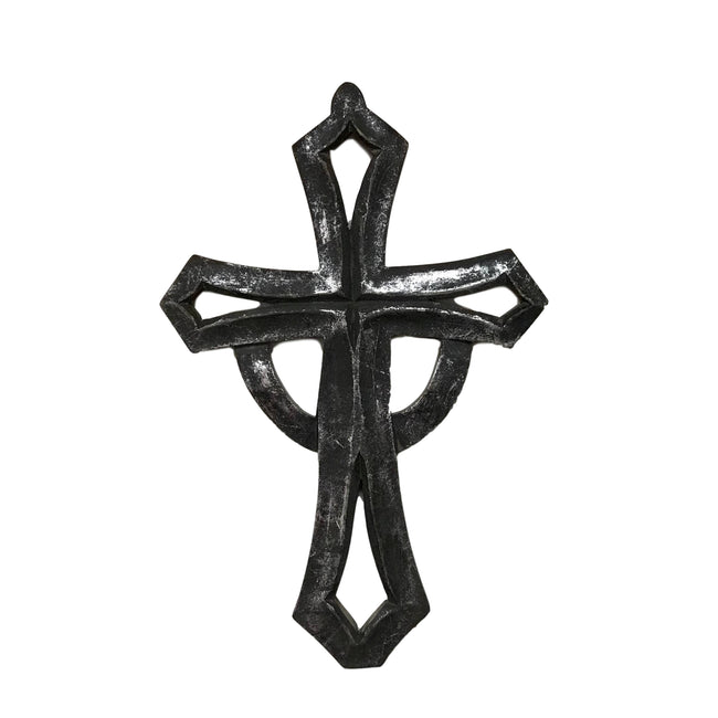Wilco Home - Hand-Carved Wood St. George Wall Cross Rustic Black/Silver