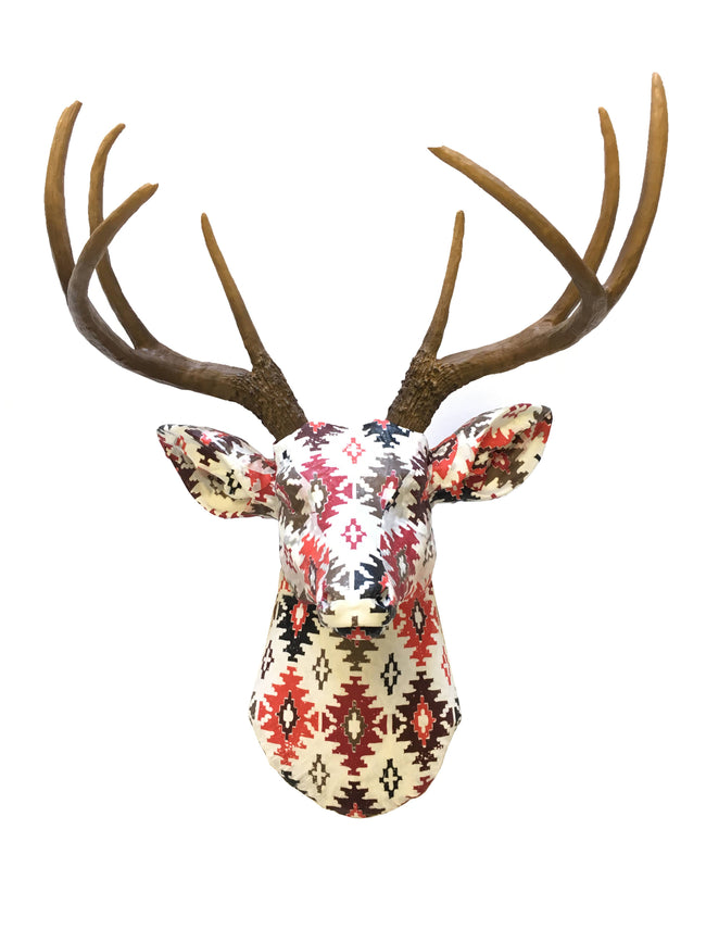 Southwestern Fabric Deer Head Wall Mount