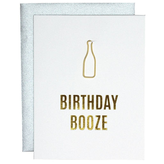 Birthday Booze Wine Bottle Paper Clip Letterpress Card