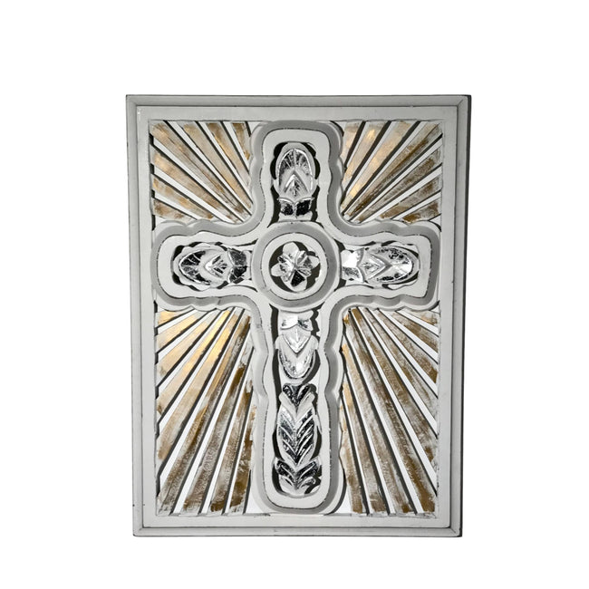Rays Of Hope Framed Carved Wood Wall Cross