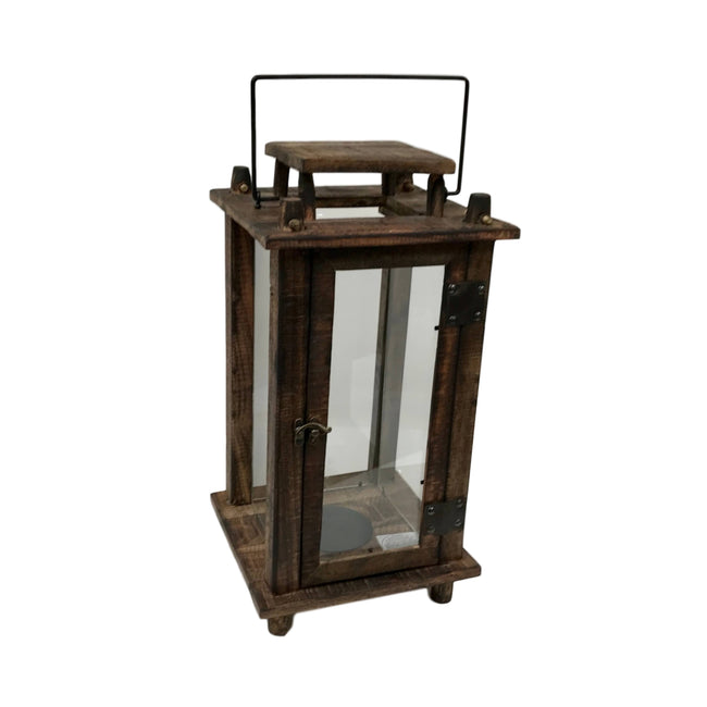 Wood & Glass Candle Lantern
