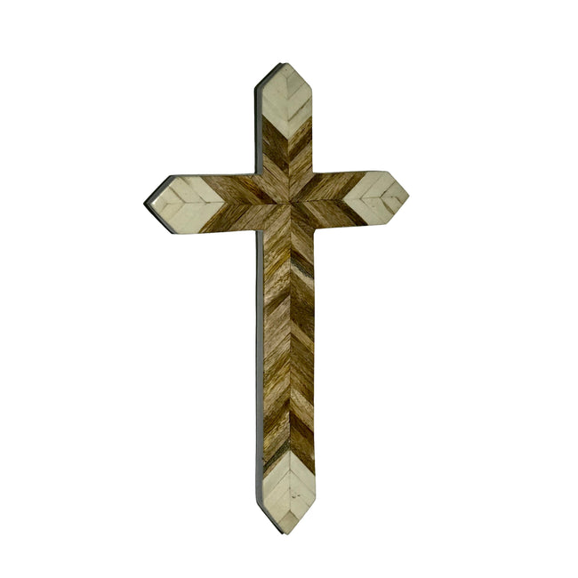 Herringbone Design Inlaid Bone & Mango Wood Wall Cross