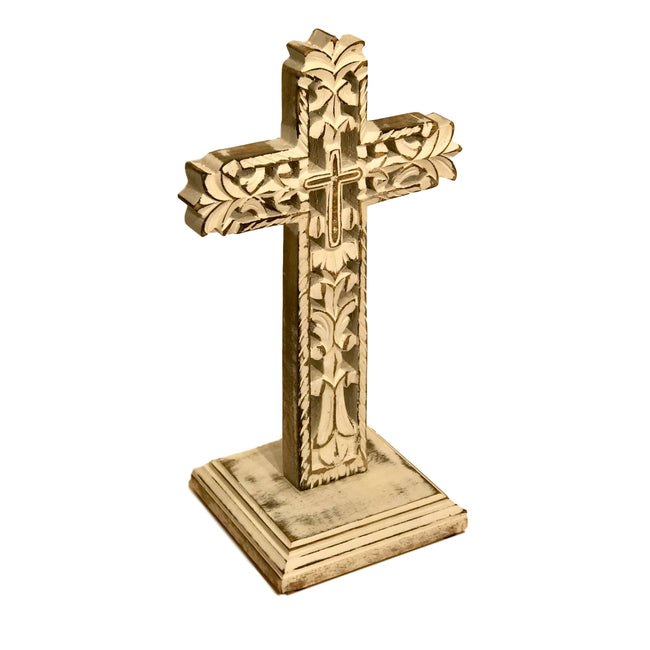 Monument Carved Wood Table Cross
