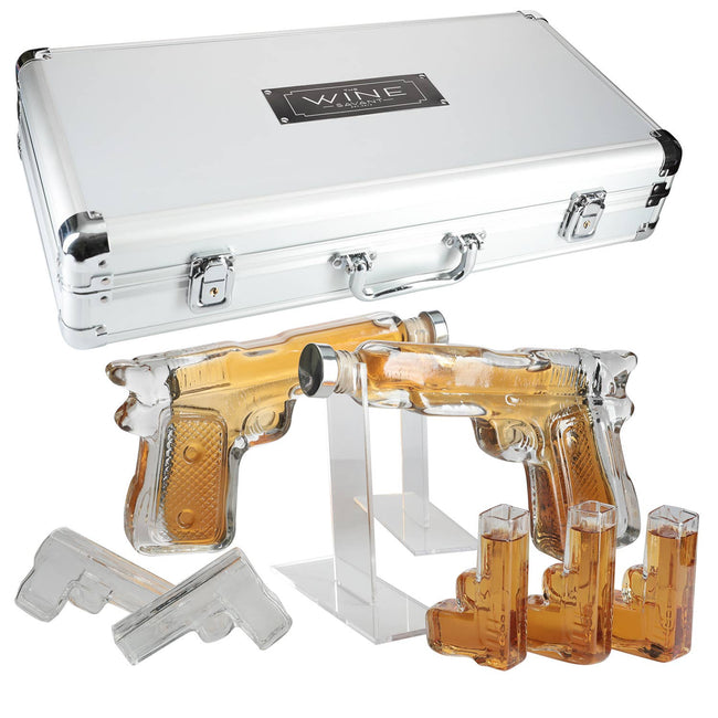 Pistol Whiskey Gun Decanter & Shot Glasses Set