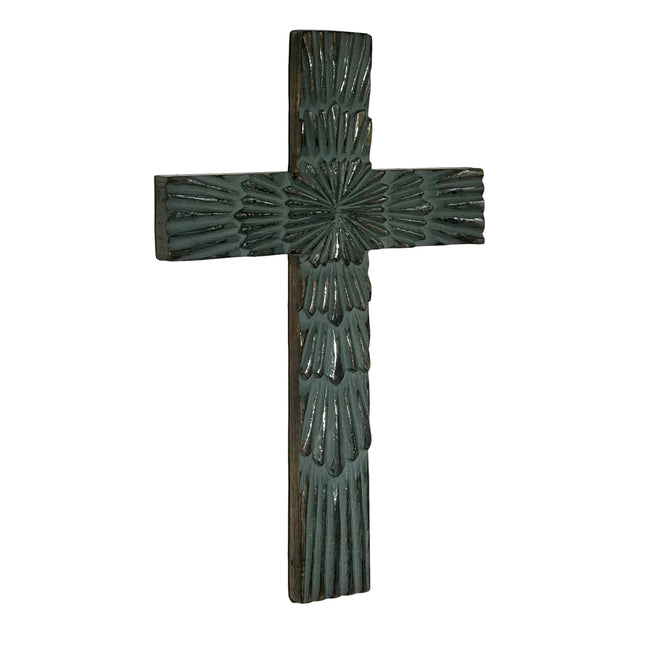 Starburst Carved Wood Wall Cross