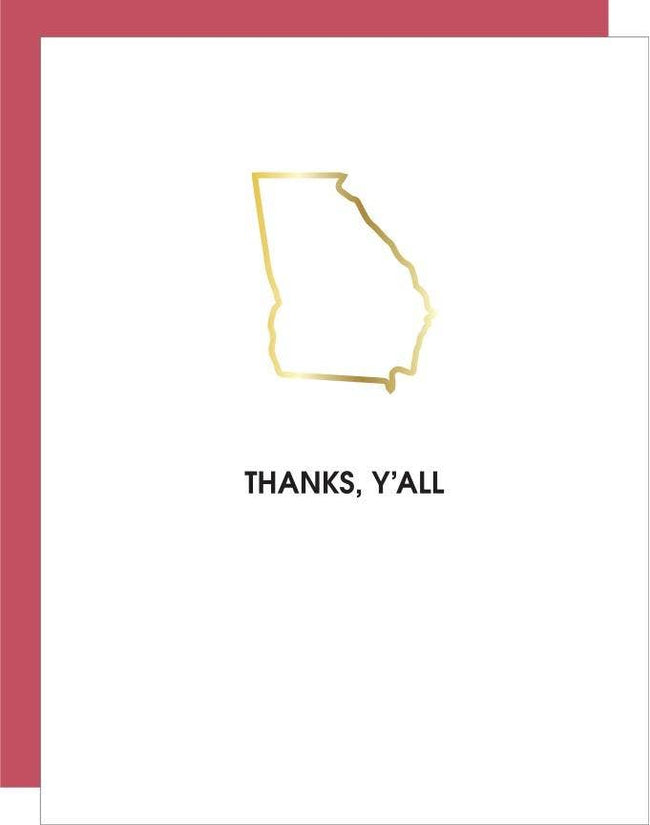 Chez Gagné - Thanks Y'all - Georgia Paper Clip Letterpress Card