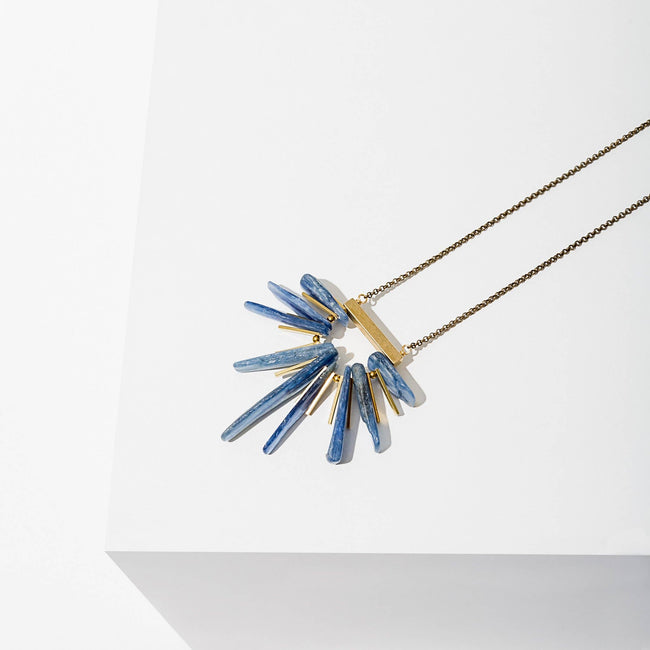 Larissa Loden Jewelry - Kyanite Fan Necklace in Blue