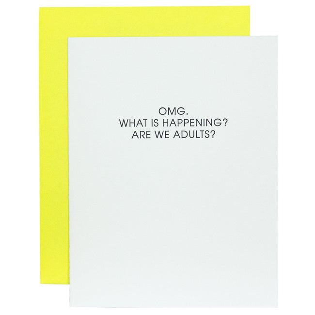 OMG Are We Adults Letterpress Card